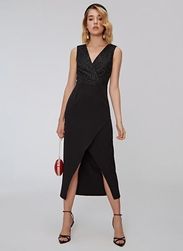 People By Fabrika Tül Detaylı Elbise Siyah